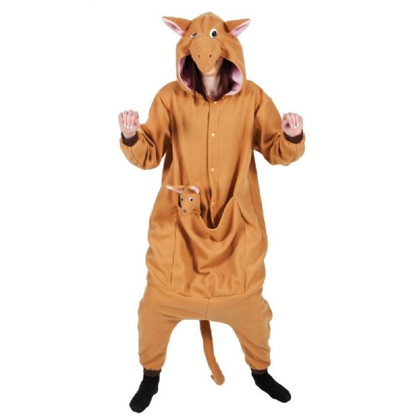 Adult Unisex Kangaroo Fleecy All in 1 Costume Outfit for Animals Fancy Dress Kangaroo